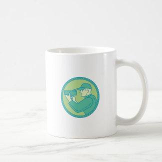 Policeman Speed Radar Gun Circle Mono Line Coffee Mug