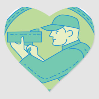 Policeman Speed Radar Gun Circle Mono Line Heart Sticker