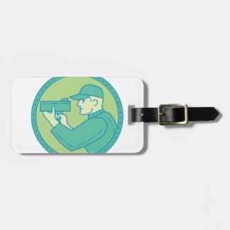 Policeman Speed Radar Gun Circle Mono Line Luggage Tag
