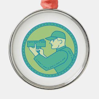 Policeman Speed Radar Gun Circle Mono Line Metal Ornament