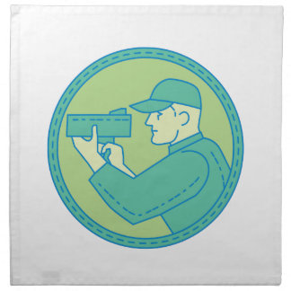 Policeman Speed Radar Gun Circle Mono Line Napkin
