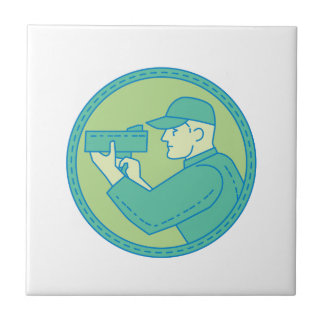 Policeman Speed Radar Gun Circle Mono Line Tile