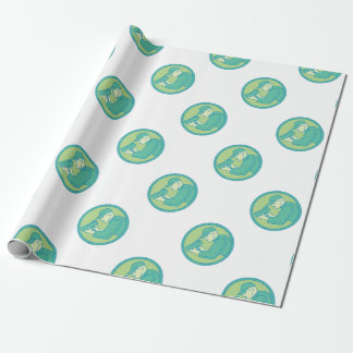 Policeman Speed Radar Gun Circle Mono Line Wrapping Paper