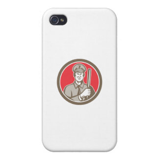 Policeman With Night Stick Baton Circle Retro Cases For iPhone 4