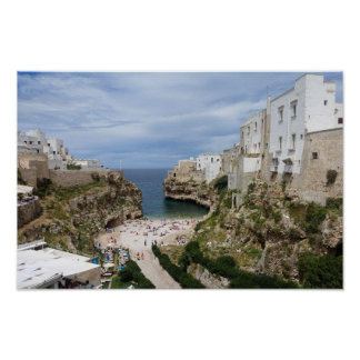 Polignano a Mare city beach in Puglia poster