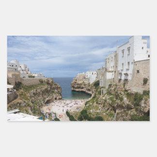 Polignano a Mare city beach rectangular sticker
