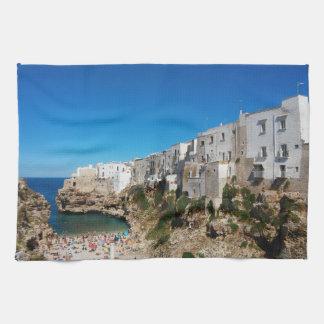 Polignano Mare Bari Italy beach landmark architect Tea Towel
