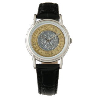 Polish 2 zlotych coin back side on two tone watch