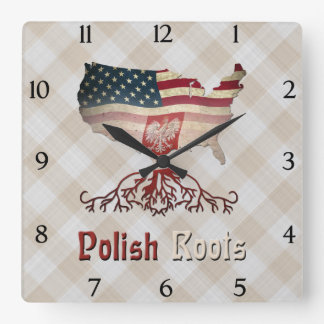 Polish American Roots Square Clock