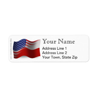 Polish-American Waving Flag Return Address Label