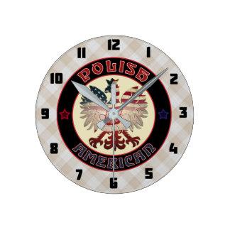 Polish American White Eagle Round Clock