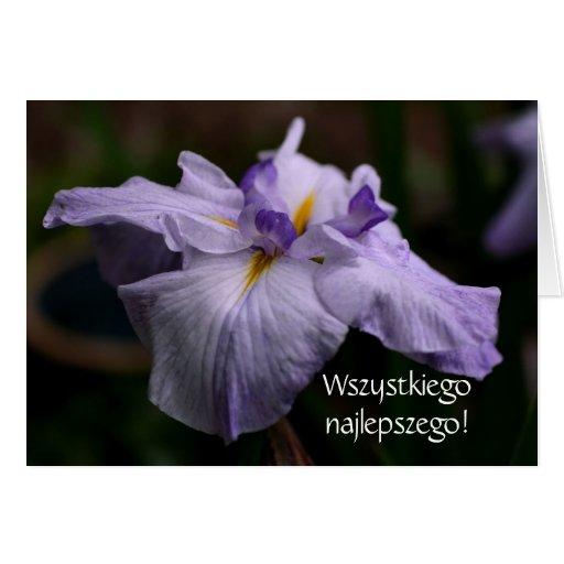 Polish Birthday Sto Lat Iris Flower Card