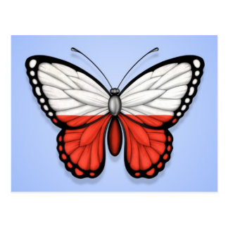 Polish Butterfly Flag on Blue Post Cards