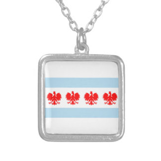 Polish Chicago Flag Silver Plated Necklace