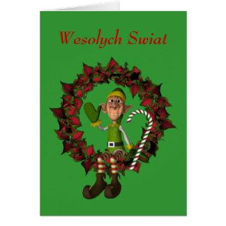 Polish Christmas Greeting Card Elf On Wreath