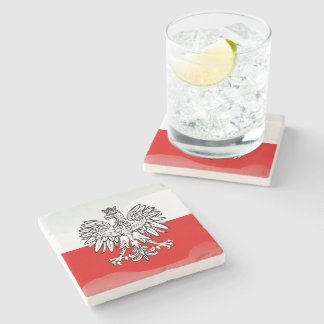 Polish Coat of arms Stone Beverage Coaster