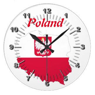 Polish country flag large clock