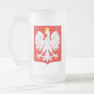 POLISH EAGLE FROSTED GLASS BEER MUG