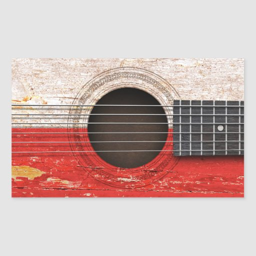 Polish Flag on Old Acoustic Guitar Rectangular Stickers