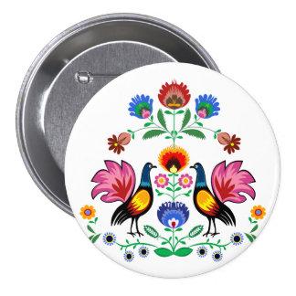 Polish Folk With Decorative Floral & Cockerels 7.5 Cm Round Badge