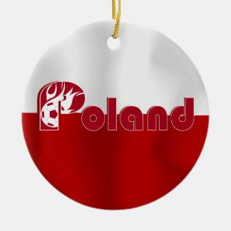 Polish Football Flag Ceramic Ornament