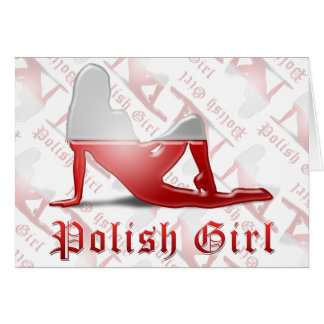 Polish Girl Silhouette Flag Card