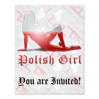 Polish Girl Silhouette Flag Invitations