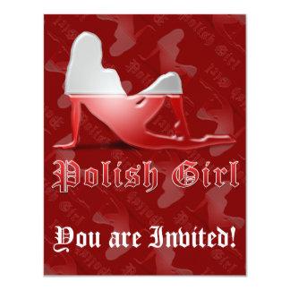 Polish Girl Silhouette Flag Custom Invite