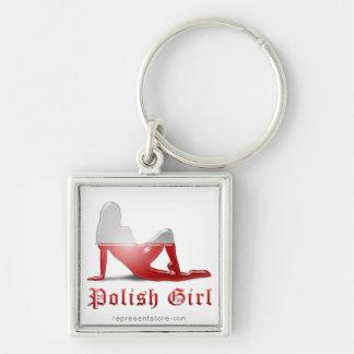 Polish Girl Silhouette Flag Key Chain
