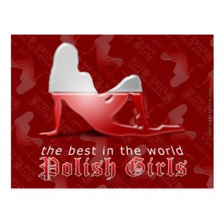 Polish Girl Silhouette Flag Post Card