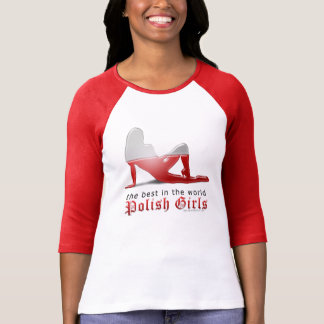 Polish Girl Silhouette Flag T Shirts