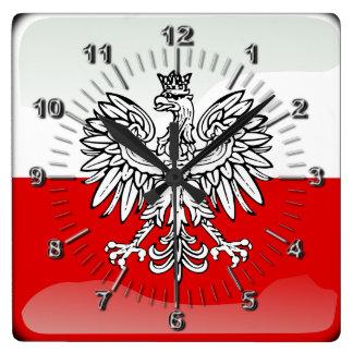 Polish glossy flag square wall clock