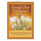 Polish Happy Easter Lilies with Cross Religious Card