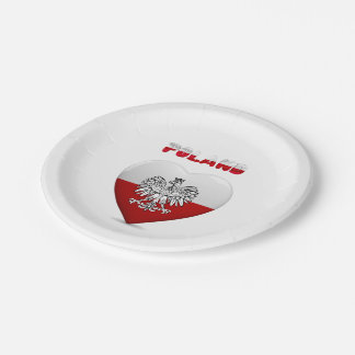 Polish heart flag paper plate