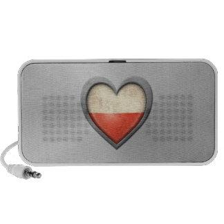Polish Heart Flag Stainless Steel Effect Speaker