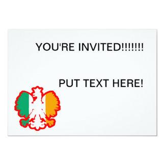 POLISH/IRISH FLAG 13 CM X 18 CM INVITATION CARD