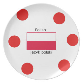 Polish Language And Poland Flag Design Plate