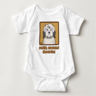 Polish Lowland Sheepdog Cartoon Baby Bodysuit