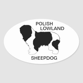 polish lowland sheepdog color silhouette oval sticker