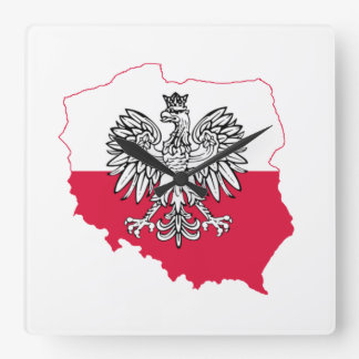 Polish Map Flag Wall Clock