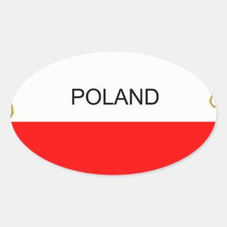 Polish Map Oval Sticker