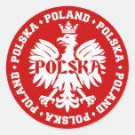 Polish Polska Eagle Emblem Round Sticker