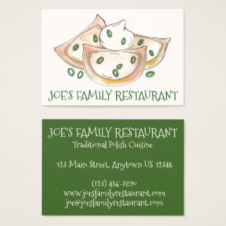 Polish Restaurant Diner Dumplings Pierogies Food Business Card