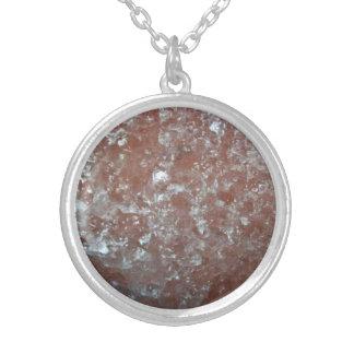 Polish rock salt silver plated necklace