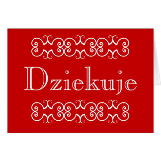 Polish Thank You Greeting Note Card Dziekuje