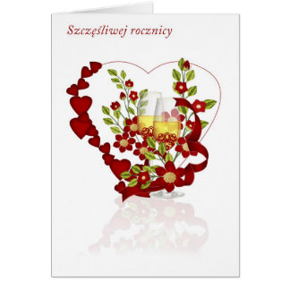 Polish Wedding Anniversary With Champagne Flowers Greeting Card