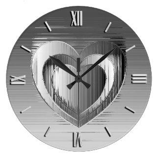 Polished chrome heart large clock