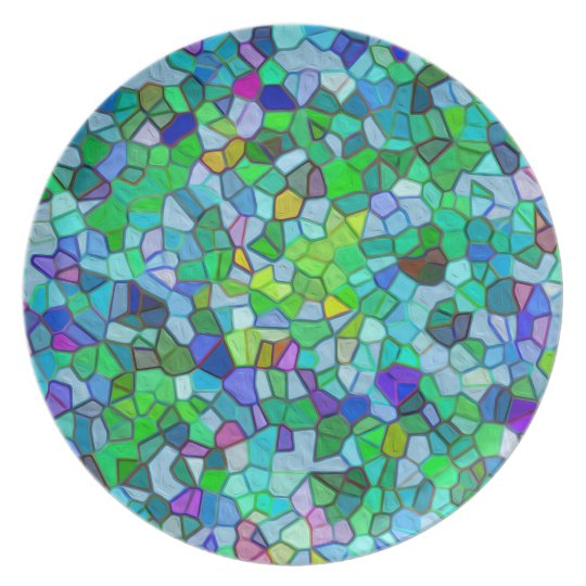 Polished Pebble Mosaic Blue Plate