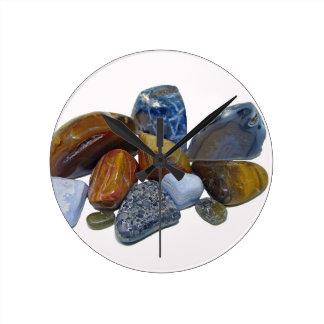 Polished Rocks Round Clock
