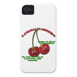 polite cordial cherries cartoon on stems iPhone 4 Case-Mate case